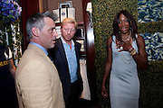 MATT LEBLANC; BORIS BECKER; VENUS WILLIAMS, The 2010 Ralph Lauren Wimbledon Party hosted by Elizabeth Saltzman in support of Too Many Women in celebration of the renewal of the Ralph Lauren Wimbledon partnership. Ralph Lauren shop. No.1 New Bond Street, London W1. 20 June 2010. <br />  <br /> -DO NOT ARCHIVE-© Copyright Photograph by Dafydd Jones. 248 Clapham Rd. London SW9 0PZ. Tel 0207 820 0771. www.dafjones.com.