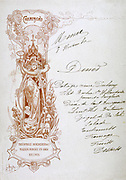 Dinner menu hand-written on a publicity card for Theophile Roederer & Co. Champagne, late 19th century. Food Alcohol  Advertising