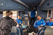 Players on the team bus Forest Green Rovers Football Club Familiarisation visit to Wembley Stadium, London, England on 10 May 2016. Photo by Shane Healey.