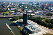Nederland, Utrecht, Utrecht, 23-06-2010; Westraven, het gerenoveerde hoofdkantoor van Rijkswaterstaat, gelegen aan het Amsterdam-Rijnkanaal, .(zie andere foto's voor meer info). Op het tweede plan het Kanaleneiland met IKEA.Westraven, the renovated headquarters of Rijkswaterstaat, located on the Amsterdam-Rhine Canal. luchtfoto (toeslag), aerial photo (additional fee required).foto/photo Siebe Swart
