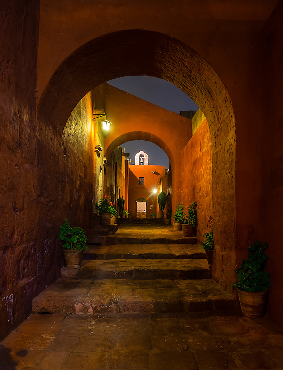 AREQUIPA, PERU - CIRCA APRIL 2014: Interior of the Monastery of Santa Catalina at night in  Arequipa. Arequipa is the Second city of Perú by population with 861,145 inhabitants and is the second most industrialized and commercial city of Peru.