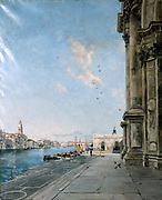 Venice - View from the Peristyle of La Salute', 1892.  Oil on canvas.  Emmanuel Lansyer (1835-1893) French landscape painter.  Campanile in St Mark's square on left.  Water Sky Blue Water