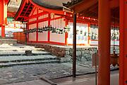 Kasuga shrine with lanterns hanging around building Nara Japan