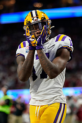 Racey McMath #17 of the LSU Tigers reacts to a play during the first half against the Oklahoma Sooners in the 2019 College Football Playoff Semifinal at the Chick-fil-A Peach Bowl on Saturday, Dec. 28, in Atlanta. (Paul Abell via Abell Images for the Chick-fil-A Peach Bowl)