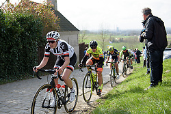 Lucinda Brand has just a few metre to the top of Paterberg at Dwars door Vlaanderen 2017. A 114 km road race on March 22nd 2017, from Tielt to Waregem, Belgium. (Photo by Sean Robinson/Velofocus)