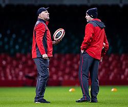 Head Coach Wayne Pivac of Wales with Stephen Jones<br /> <br /> Photographer Simon King/Replay Images<br /> <br /> Six Nations Round 1 - Wales v Italy -  Captains Run - Friday 31st January 2020 - Principality Stadium - Cardiff<br /> <br /> World Copyright © Replay Images . All rights reserved. info@replayimages.co.uk - http://replayimages.co.uk