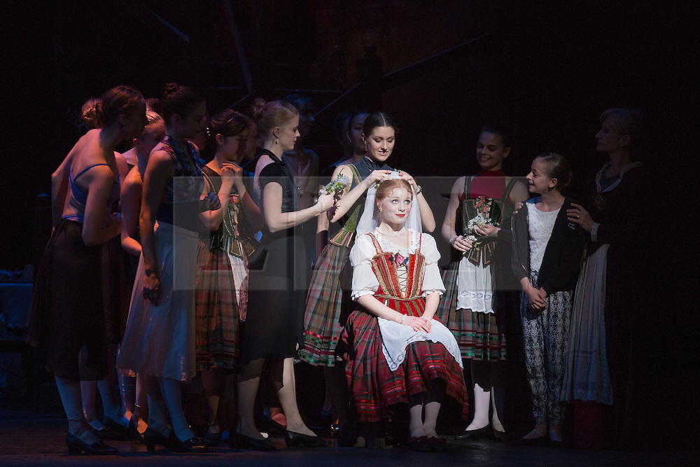 © Licensed to London News Pictures. 04/08/2015. London, UK. Mia Heathcote as Effie. Dress rehearsal of La Sylphide (some parts in partial costume). Australia's Queensland Ballet makes its London Coliseum debut with La Sylphide, the August Bournonville ballet is choreographed by Peter Schaufuss. Performances at the Coliseum from 5 to 8 August 2015. Photo credit: Bettina Strenske/LNP