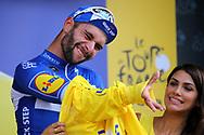 Fernando Gaviria (COL - QuickStep - Floors) yellow jerzey during the Tour de France 2018, Stage 1, Noirmoutier -en-l'île - Fontenay-le-Comte (201km) on July 7th, 2018 - Photo Kei Tsuji / BettiniPhoto / ProSportsImages / DPPI