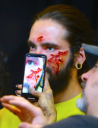 Heidi Klum, joined by hubby Tom Kaulitz, gets ready for Halloween in the window of the Amazon store near The Empire State Building in New York City, NY, USA on October 31, 2019. Photo by Dylan Travis/ABACAPRESS.COM
