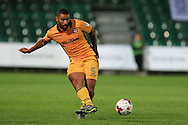 Jamie Turley of Newport county in action. EFL cup, 1st round match, Newport county v Milton Keynes Dons at Rodney Parade in Newport, South Wales on Tuesday 9th August 2016.<br /> pic by Andrew Orchard, Andrew Orchard sports photography.