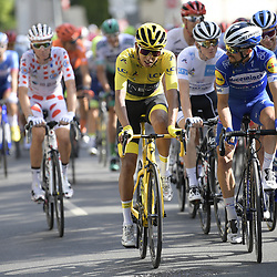July 28, 2019, Paris, France: French Romain Bardet of AG2R La Mondiale wearing the red polka-dot jersey, Colombian Egan Bernal of Team Ineos wearing the yellow jersey and French Julian Alaphilippe of Deceuninck - Quick-Step ride the final stage of the 106th edition of the Tour de France cycling race, from Rambouillet to Paris Champs-Elysees (128km), France, Sunday 28 July 2019. This year's Tour de France starts in Brussels and takes place from July 6th to July 28th. (Credit Image: © Yorick Jansens/Belga via ZUMA Press)