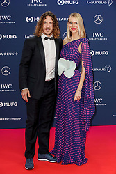 Laureus Academy Member Carles Puyol and Vanessa Nadales arriving to the Laureus Sports Awards 2019 ceremony at the Sporting Monte-Carlo in Monaco on February 18, 2019. Photo by Marco Piovanotto/ABACAPRESS.COM