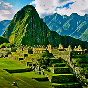 Ancient Machu Picchu, last refuge of the vanished Inca civilization in the Andes Mountains, Peru.