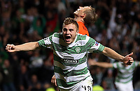 Football - 2013 / 2014 Champions League - Qualifying, Play-Off Round, Second Leg: Celtic vs. Shakhter Karagandy<br /> <br /> James Forrest of Celtic celebrates scoring during the Celtic and Shakhter Karagandy Champions League qualification match at Parkhead Stadium, Glasgow on August 28th August 2013.<br /> <br /> Ian MacNicol/Colorsport