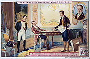 Napoleon I  (1769-1821) negotiating a loan with Gabriel-Julien Ouvard (1770-1846) French financier. Chromolithograph  c1900.