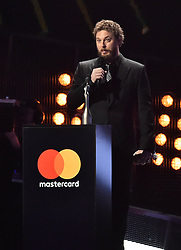Duncan Jones accepting the Best British Album Award for his father David Bowie on stage at the BRIT Awards 2017, held at The O2 Arena, in London.<br /><br />Picture date Tuesday February 22, 2017. Picture credit should read Matt Crossick/ EMPICS Entertainment. Editorial Use Only - No Merchandise.