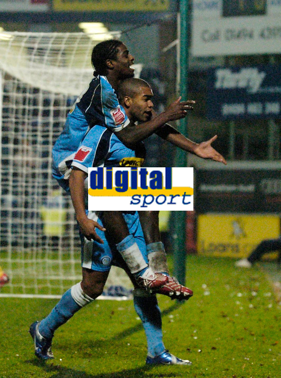 Photo: Richard Lane.<br />Wycombe Wanderers v Stockport County. Coca Cola League 2. 23/12/2006. <br />Wycombe's Jermaine Easter celebrates his goal with Anthony Grant.