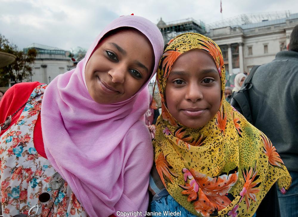 The Muslim community in London celebrate Eid ul-Fitr inn trafalgar Square London