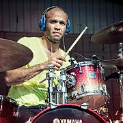 Bomba Estereo drummer Kike Egurrola performing at Alverno Presents: Global Union in Milwaukee. Photo by Jennifer Rondinelli Reilly.