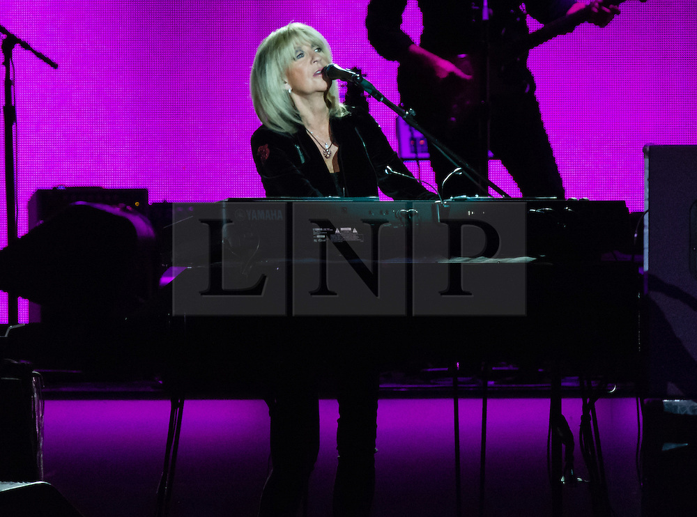 © Licensed to London News Pictures. 27/05/2015. London, UK.   Fleetwood Mac performing live at The O2 Arena, together with Christine Mc Vie (pictured) who has rejoined the band.   The band are due to headline the Isle of Wight Festival next month. Fleetwood Mac are a British-American rock band consisting of members Mick Fleetwood (drums), John McVie (bass guitar), Christine McVie (keyboards/vocals), Lindsey Buckingham (guitars, vocals), Stevie Nicks (vocals, tambourine).  Photo credit : Richard Isaac/LNP