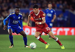 """Liverpool's Dominic Solanke and Leicester City's Wilfred Ndidi (left) during the Carabao Cup, third round match at the King Power Stadium, Leicester. PRESS ASSOCIATION Photo. Picture date: Tuesday September 19, 2017. See PA story SOCCER Leicester. Photo credit should read: Mike Egerton/PA Wire. RESTRICTIONS: EDITORIAL USE ONLY No use with unauthorised audio, video, data, fixture lists, club/league logos or """"live"""" services. Online in-match use limited to 75 images, no video emulation. No use in betting, games or single club/league/player publications."""