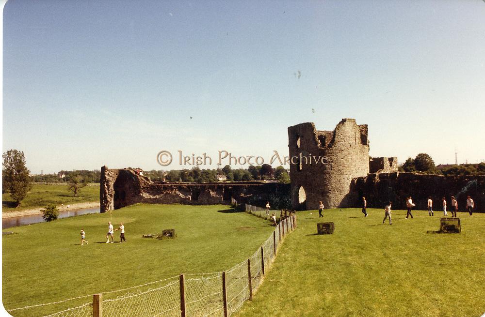 Old amateur photos of Dublin streets churches, cars, lanes, roads, shops schools, hospitals Trim County Meath Yellow Sreeple, Castle, Keep, April 1992