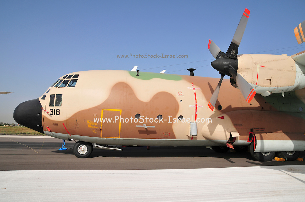 Israel, Tel Nof IAF Base, An Israeli Air force (IAF) exhibition. C-130 Hercules 100 transport plane on the ground