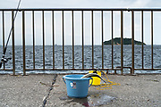 caught fish in a bucket Umikaze park, Yokosuka with Tokyo Bay and Sarushima Island