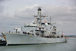 HMS St Albans arrives back at Portsmouth Naval Base following a nine-month deployment to the Middle East.