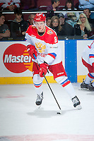 KELOWNA, CANADA - NOVEMBER 9: Andrey Svetlakov # 8 of Team Russia warms up against the Team WHL on November 9, 2015 during game 1 of the Canada Russia Super Series at Prospera Place in Kelowna, British Columbia, Canada.  (Photo by Marissa Baecker/Western Hockey League)  *** Local Caption *** Andrey Svetlakov;