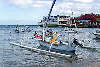 Bali, Karangasem, Padangbai. The Padangbai port with the ferries to Lombok in the background.