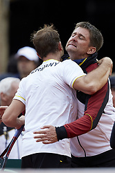 April 7, 2018 - Valencia, Valencia, Spain - Tim Putz (L) of Germany celebrates the victory with Michael Kohlmann Captain of Germany in his doubles match with Jan-Lennard Struff  against Feliciano Lopez and Marc Lopez of Spain during day two of the Davis Cup World Group Quarter Finals match between Spain and Germany at Plaza de Toros de Valencia on April 7, 2018 in Valencia, Spain  (Credit Image: © David Aliaga/NurPhoto via ZUMA Press)
