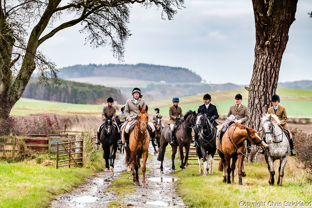 Smailholm, Kelso, Scottish Borders, UK. 19th November 2018. The Duke of Buccleuch Foxhounds meet at Smailhom Manse on a cold overcast Monday.
