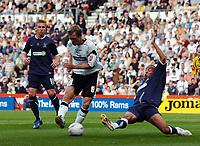 Photo: Kevin Poolman.<br />Derby County v Southend United. Coca Cola Championship. 30/09/2006. Morten Bisgaard (Derby) has his shot blocked by Southend defender Lewis Hunt.