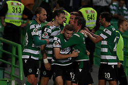 April 18, 2018 - Lisbon, Portugal - Sporting's defender Sebastian Coates (4) from Uruguay celebrates with teammates after scoring during the Portugal Cup semifinal second leg football match Sporting CP vs FC Porto at the Alvalade stadium in Lisbon on April 18, 2018. (Credit Image: © Pedro Fiuza via ZUMA Wire)