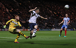 Adam Bogdan of Wigan Athletic (L) and Jordan Hugill of Preston North End in action - Mandatory by-line: Jack Phillips/JMP - 23/09/2016 - FOOTBALL - Deepdale - Preston, England - Preston North End v Wigan Athletic -  EFL Sky Bet Championship
