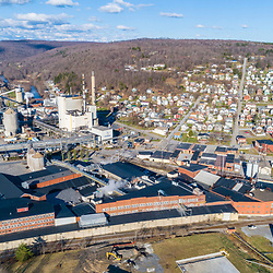 Domtar paper mill and Johnsonburg, Pennsylvania. Clarion River. Spring.