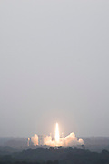 Mcc0084404 . Daily Telegraph<br /> <br /> Aeolus Satellite Launch<br /> <br /> <br /> The Vega launches successfully with the Aeolus satellite .<br /> <br /> The Aeolus Satellite, designed and built by Airbus contains pioneering technology that will monitor winds around the globe that will change weather forecasting forever .<br /> <br /> Kourou, French Guiana 21 August 2018