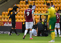 Football - 2019 / 2020 Premier League - Norwich City vs. Burnley<br /> <br /> Norwich City's Josip Drmic (hidden) is shown a red card by Referee Kevin Friend as Burnley's Erik Pieters lies injured on the ground, at Carrow Road.<br /> <br /> COLORSPORT/ASHLEY WESTERN
