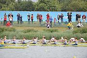 Eton Dorney, Windsor, Great Britain,..2012 London Olympic Regatta, Dorney Lake. Eton Rowing Centre, Berkshire[ Rowing]...Start, Women's Eights. GBR W8+, GER W8+ NED W8+. AUS W8+ Dorney Lake. 10:54:04  Tuesday  10:54:04   [Mandatory Credit: Peter Spurrier/Intersport Images].