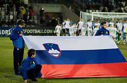 Slovenian flag during friendly football match between National teams of Slovenia and Scotland, on February 29, 2012 in Stadium Bonifika, Koper, Slovenia.  (Photo By Vid Ponikvar / Sportida.com)