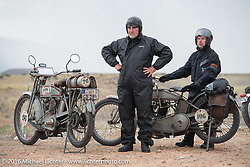 Thomas Trapp, owner of the Harley-Factory Frankfurt dealership in Germany with his 1916 Harley-Davidson and Paul Jung, also of Germany, with his 1915 Harley-Davidson entry from W and W Cycles of Wurzburg at the Four Corners (the meeting of Utah, Colorado, New Mexico and Arizona) during the Motorcycle Cannonball Race of the Century. Stage-11 ride from Durango, CO to Page, AZ. USA. Wednesday September 21, 2016. Photography ©2016 Michael Lichter.