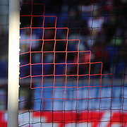 Sunlight catches the netting on the goal during the New York Red Bulls Vs D.C. United Major League Soccer regular season match at Red Bull Arena, Harrison, New Jersey. USA. 22nd March 2015. Photo Tim Clayton