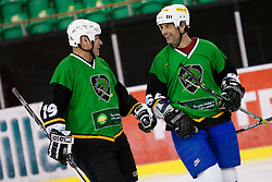 Luka Zagar and Mare Kumar of Olimpija during Humanitarian hockey derby of legends between Olimpija and Jesenice, on 7 March 2014, in Hala Tivoli, Ljubljana, Slovenia. Photo by Urban Urbanc / Sportida.com