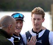 Putney/Mortlake, GREATER LONDON. United Kingdom. 2017 Women's and Men's University Boat Races, held over, The Championship Course, Putney to Mortlake on the River Thames. 2017 OUBC. left James COOK and Right Oliver COOK. Sunday  02/04/2017, <br /> <br /> [Mandatory Credit; Intersport Images]