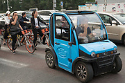 Electric powered small car<br /><br />Electric vehicles are everywhere on China's roads, from battery powered pedal bikes to hybrid cars, electric buses and all types of service vehicles.