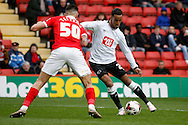Tom Ince of Derby County in possesion taking on Jorge Teixeira of Charlton Athletic .Skybet football league championship match, Charlton Athletic v Derby County at The Valley  in London on Saturday 16th April 2016.<br /> pic by Steffan Bowen, Andrew Orchard sports photography.