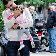NLD/Amsterdam/20120916- Babyshower Jim Bakkum en partner Bettina Holwerda, Jan Kooyman en dochter Logan