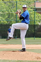 11 May 2013:  Alex Silverthone pitches for North Park during an NCAA division 3 College Conference of Illinois and Wisconsin (CCIW) Pay in Baseball game during the Conference Championship series between the North Park Vikings and the Illinois Wesleyan Titans at Jack Horenberger Stadium, Bloomington IL