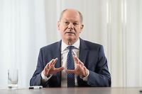 28 AUG 2020, BERLIN/GERMANY:<br /> Olaf Scholz, SPD, Bundesfinanzminister, waehrend einem Interview, Bundesministerium der Finanzen<br /> IMAGE: 20200828-01-032